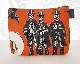 Crafty Calaveras Halloween Fabric Cosmetic Bag Gadget Bag Makeup Bag Zip Pouch Alexander Henry Skeletons in Opera Top Hats Orange Black