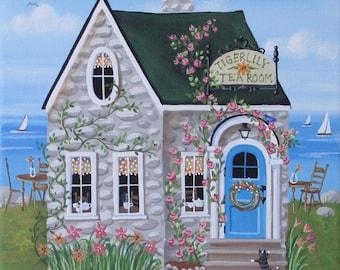 Folk Art ORIGINAL Cottage Painting~Tigerlily Tea Room~ FREE Shipping