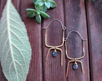 Illuminate Hoops - Labradorite and brass Statment Hoops - Labradorite Earrings - Blue Stone Earrings - Labradorite Bohemian Earrings