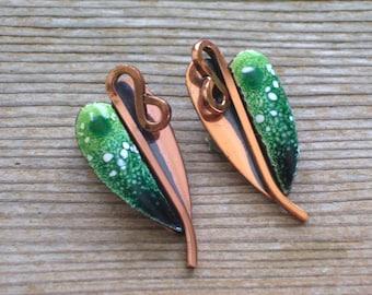 Matisse Earrings, Vintage MATISSE Copper Enamel LILY Clip Earrings, Modernist Copper Lily Jewelry, Modernist Matisse Renoir, MCM Copper