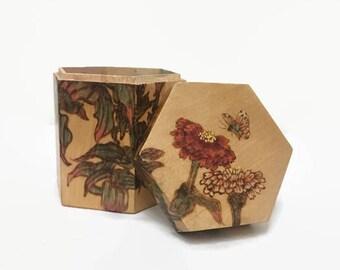 Bamboo Keepsake Box, Octagon, Flowers & Butterflies, Buffums, Vintage Box for Trinkets, Stash, Vanity, Jewelry