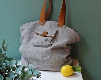Large grey washed linen tote bag