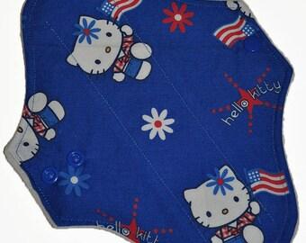 Light Hemp Core- Independence Kitty Reusable Cloth Pantyliner Pad- WindPro Fleece- 8.5 Inches