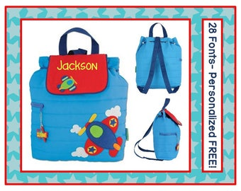 28 Fonts- Personalized Toddler AIRPLANE Quilted Backpack- Preschool/ Day Care/ Diaper Bag