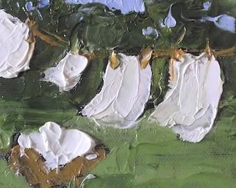 Miniature Impressionist O/C Painting 4x4 Backyard Clothesline Art Laundry Washday LANDSCAPE Lynne French