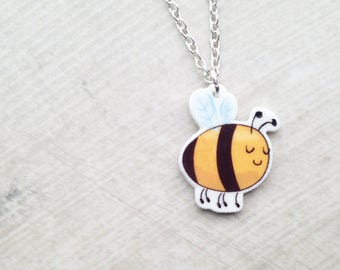 Handmade Illustrated Bumble Bee Pendant Necklace