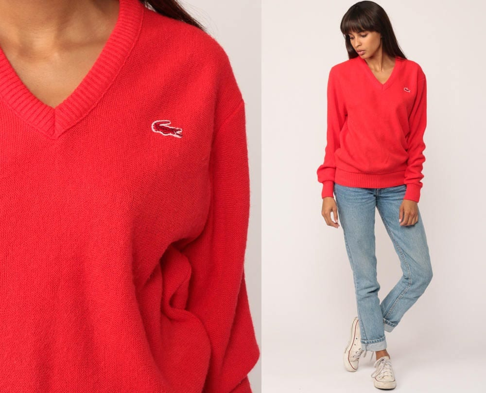 LACOSTE Sweater 80s Slouchy V Neck NEON RED Sweater Izod