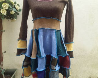 Upcycled Sweater Dress Tunic Top Recycled Mix Fabric Size Small