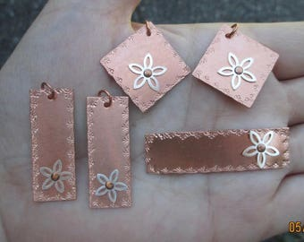 Copper Earring,Bracelet or Pendant Blank with Sterling Flower-You choose which one and the quantity