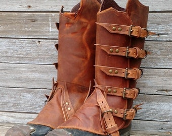 Primitive Brown Leather Peaked Spats with Antiqued Brass Hardware