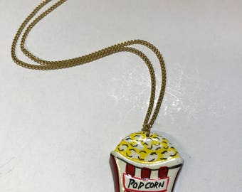 Vintage 80's painted wood popcorn charm necklace