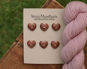 6 Red Cedar Heart Buttons- Wooden Buttons- Eco Craft Supplies, Eco Knitting Supplies, Eco Sewing Supplies