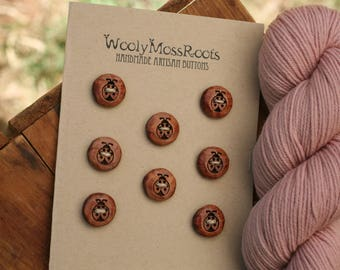 8 Wooden Ladybug Buttons- Red Cedar Wood- Wooden Buttons- Eco Craft Supplies, Eco Knitting Supplies, Eco Sewing Supplies