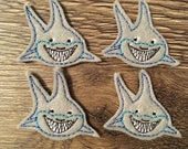 Smiling Shark Felties Set of four - Fish Feltie - Marine  Feltie - Seashore Feltie - Shark Feltie