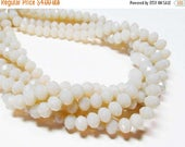 """20% OFF 6.5"""" Glass STRAND - Glass Crystal Beads - 6x8mm Rondelles - Translucent Egg Shell (6.5 inch strand - 27 beads) - str1103"""