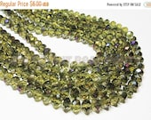 "20% OFF 7"" Glass STRAND - Glass Crystal Beads - 8x10mm Faceted Rondelles - Transparent Olive Green with Purple Ab (7"" strand - 24 beads) - s"