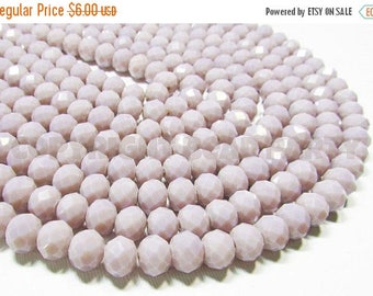 """20% OFF 7"""" Glass STRAND - Glass Crystal Beads - 7x10mm Faceted Rondelles - Opaque Light Lavender (7"""" strand - 24 beads) - str908"""