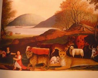 Peaceable Kingdom - Edward Hicks - The Peaceable Season 1849 Folk Art print framable - primitive Americana 1973 book plate