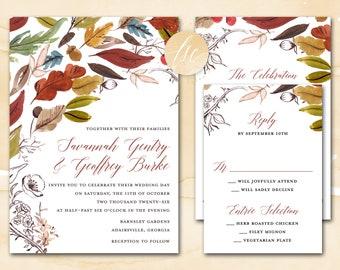 Fall Wedding Invitation Printable, Autumn Wedding Invite, Harvest Wedding, Burgundy, Gold, Bronze | DIGITAL PRINTABLE