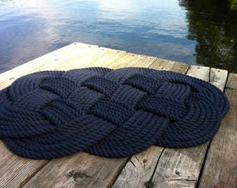 Nautical Bathmat - Cotton Nautical Mat and Rug - Nautical Decor - Nautical Bathroom - 30' by 19' - Treat Yourself - Rope Rug