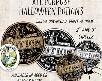 Halloween Potion Label Circles, Witch Apothecary Labels, Printable Halloween Tags, Digital Download, Vintage Style Halloween Clip Art