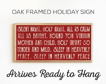 Silent Night Holiday Sign - Wood Holiday Sign - Rustic Country Home Christmas Decor