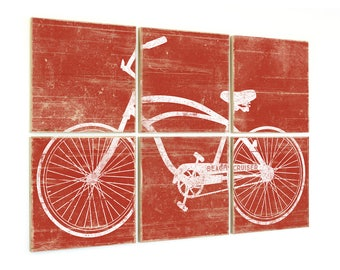 Distressed Vintage Beach Cruiser Bike Print - Bicycle Print on Wood