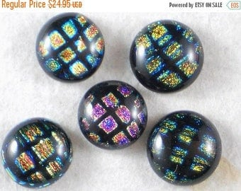 ON SALE 5 Multi Color Fused Dichroic Glass 14mm round Cabochons w Purple, Orange, Gold & Blue - Beading, for Metal Clay or make buttons (312