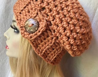 Crochet Womens Hat, Slouchy Beret, Harvest, Orange, Soft Chunky Wool, Coconut Button, Warm, Teens, Gift for her, Winter, Ski Hat JE410BB1