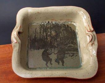 Square Stoneware Baking Dish ~ Dancing Bear Design ~