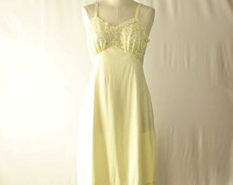 Vintage Lemon Yellow Full Slip - 1960s Nylon Full Slip Underslip