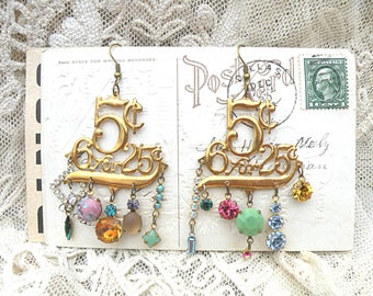 Victorian oddity number tag earrings assemblage jeweled dangles found object industrial salvage cottage steampunk