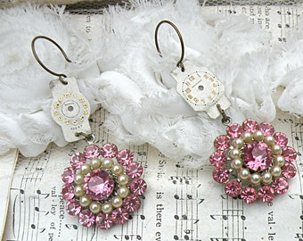 watch dial earrings assemblage romantic pink rhinestone recycled vintage jewelry summertime romance cottage chic