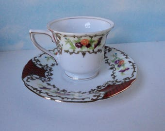Made In Occupied Japan Floral  Demitasse Cup and Saucer