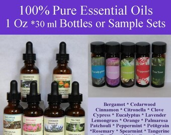 Pure Essential Oils, Essential Oil Set, Essential Oil Samples, Essential Oil, Lavender, Peppermint, Eucalyptus, Lemongrass, Tea Tree Oil