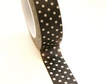 25% Off Summer Sale Washi Tape - 15mm - White Polka Dot on Black - Deco Paper Tape No. 169