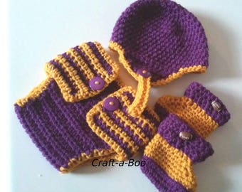 Crochet Baby Hat, Football Helmet, Team Color Baby Set, Crochet Football Set, Newborn Football Set, Sports Theme Diaper Cover, Photo Prop