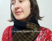 Scarf, Neck Warmer, Neckwarmer, Snood, Upycled Clothing, Eco Repurposed Navy Blue Corduroy with Plaid Color Block  with Bronze Crest Buttons