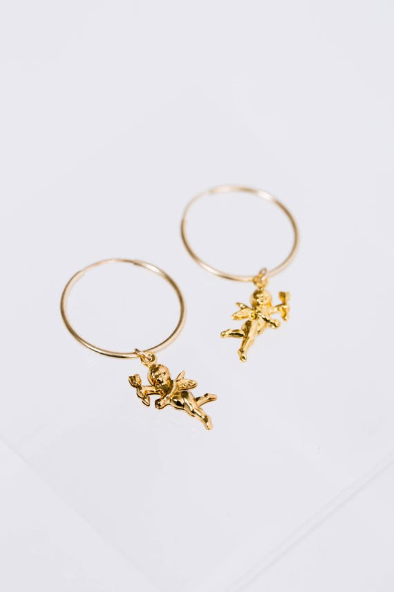 Gold Cupid Angel BB Hoops