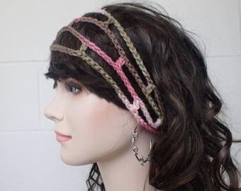 CROCHET BOHO HEADBAND, gypsy headband crochet hairband, Loc headband, mesh hairband, Crochet gypsy hairband, fishnet, hippie headband net