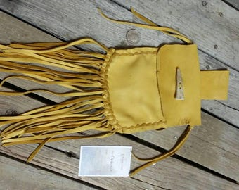 Natural Gold Buckskin Leather Pouch Bag with Deer Antler Closure and Fringed Lot No. 170603-F
