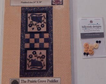 Cats in the Garden Table Runner Quilt Pattern With Hillcreek Buttons Included and Free Shipping