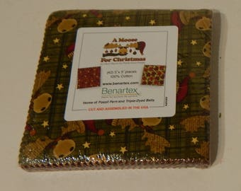 """NEW A Moose for Christmas Craft 100% Cotton Quilt Fabric 5"""" x 5"""" Swatch Pack"""