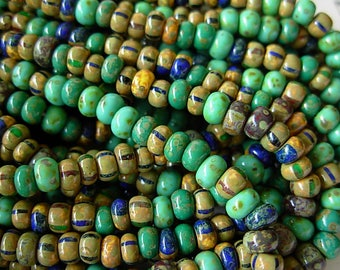 "Picasso Seed Beads, 4/0 Czech Seed Beads, Aged Picasso- Blue/ Green Striped Mix (1/18"") #502"