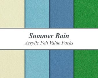"Acrylic Craft Felt Sheets Value Packs - 9"" X 12"", Summer Rain Seasonal Winter Pack, Multiple Pack Sizes Available"