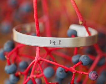 Custom Cuff Bracelet/ Silver Cuff Bracelet/ Couples Initial Jewelry/ Soulmates Jewelry/ Silver Bracelet/ Bracelet with Initials