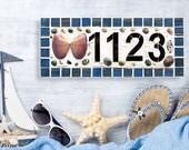 House Number Med 3 or 4 Digit Outdoor Mosaic House Number Plaque Seashell Beach House Mailbox Number Ceramic Tile Wall Number Address Sign