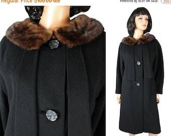 ON SALE Vintage Winter Coat M 50s Collar Black Wool Brown Mink Fur Long Princess Jacket Free Us Shipping