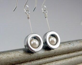 White Pearl Earrings, Pearl Drop Earrings, Nickel Free Earrings, Pearl Gifts, Pearl Dangle Earrings, Sterling Silver Drop Earrings