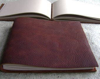 "Guest book / sketchbook / journal, approx. 8.5""x 7.5"", rustic brown, landscape journal, sketchbook (2582)"